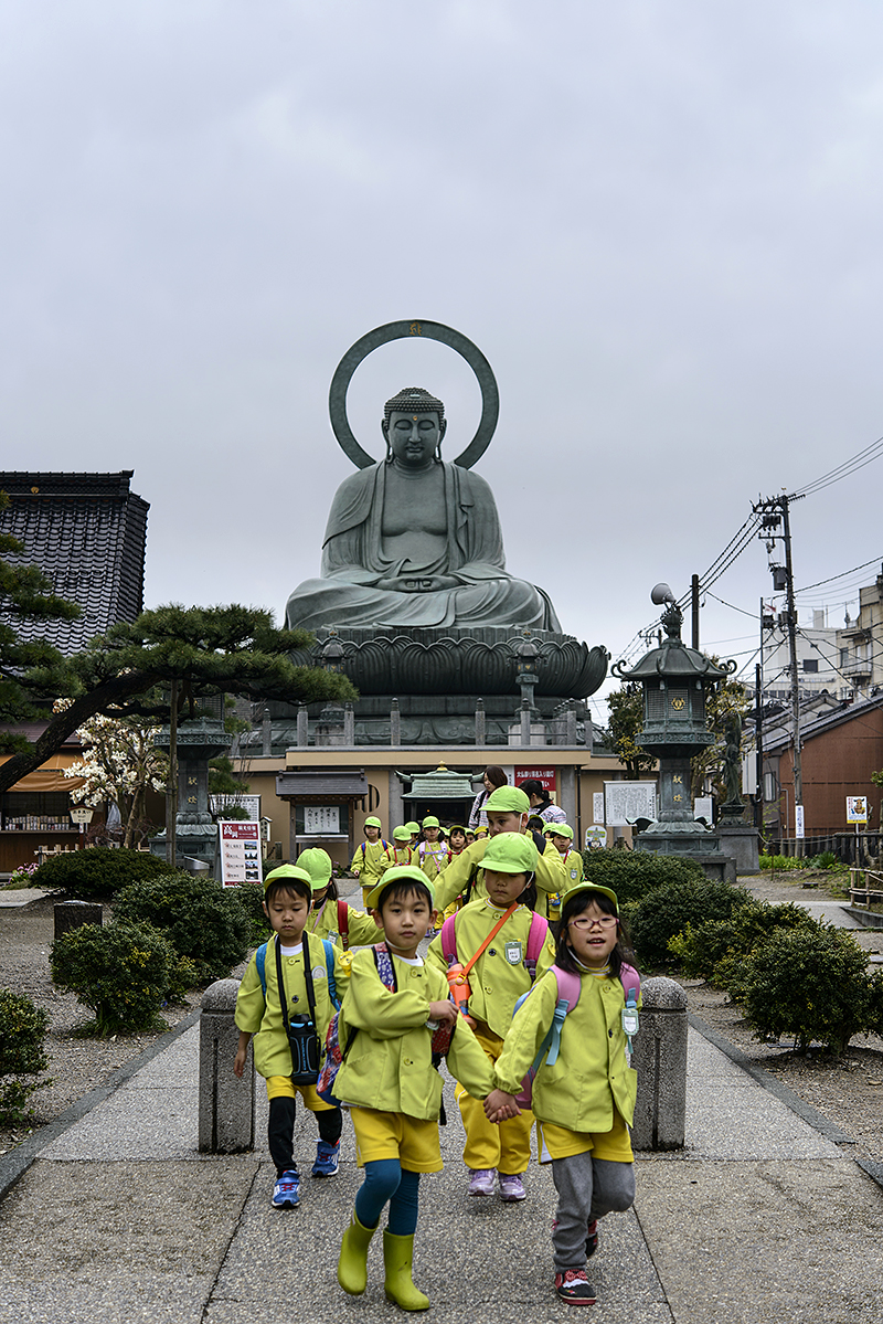 Japan, Takaoka. Apr/14/2015. Daibutsu Buddha and Kaiwo Maru.